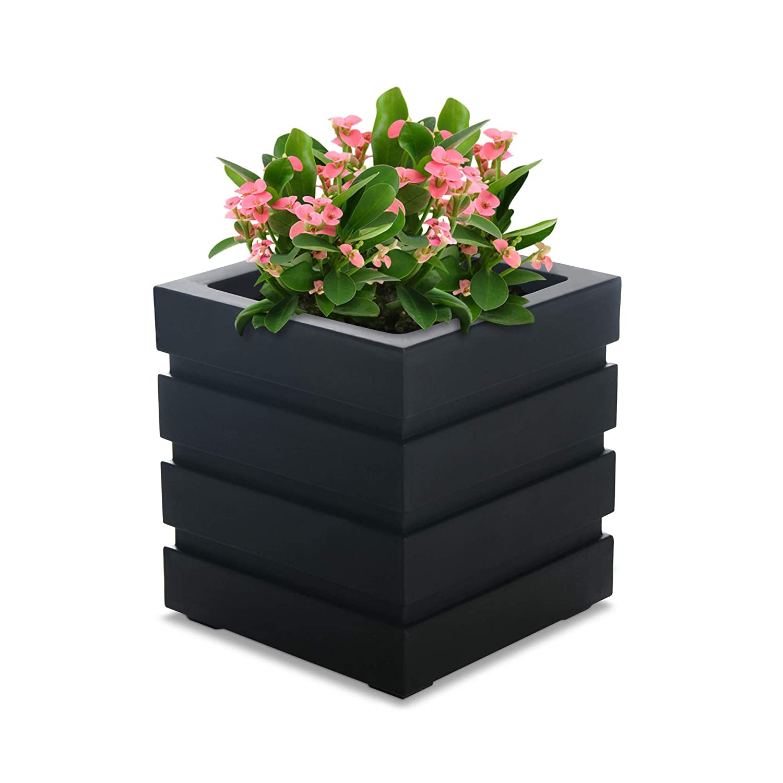 Mayne Inc Freeport Patio Planter, 18 by 18-Inch, Black