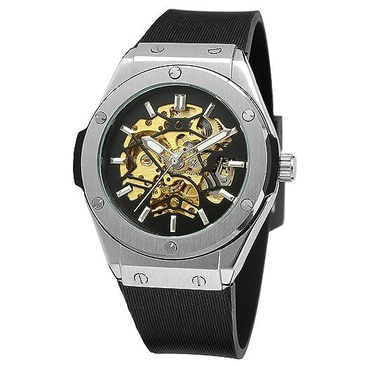 Forsining Hombres del nuevo estilo esqueleto Custom automático Steampunk reloj de pulsera con banda de goma fsg8107 m3s13: Amazon.es: Relojes