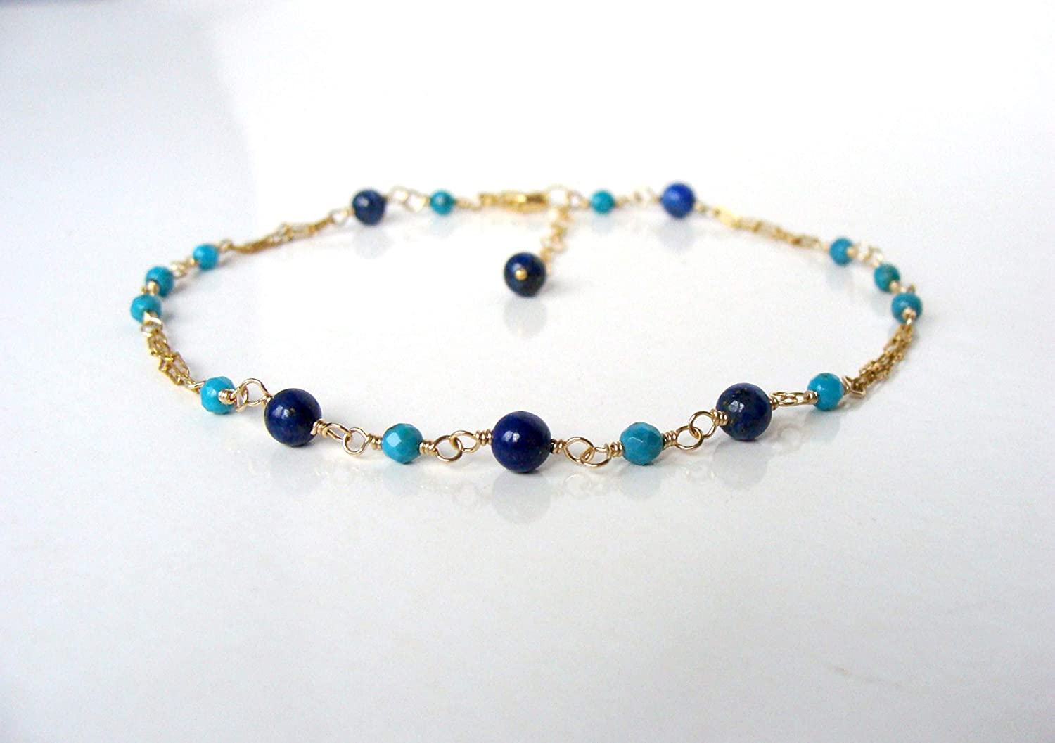 adjustable 9-10 inches Turquoise lapis goldfill anklet dainty beautiful summer resort style handmade by Let Loose Jewelry