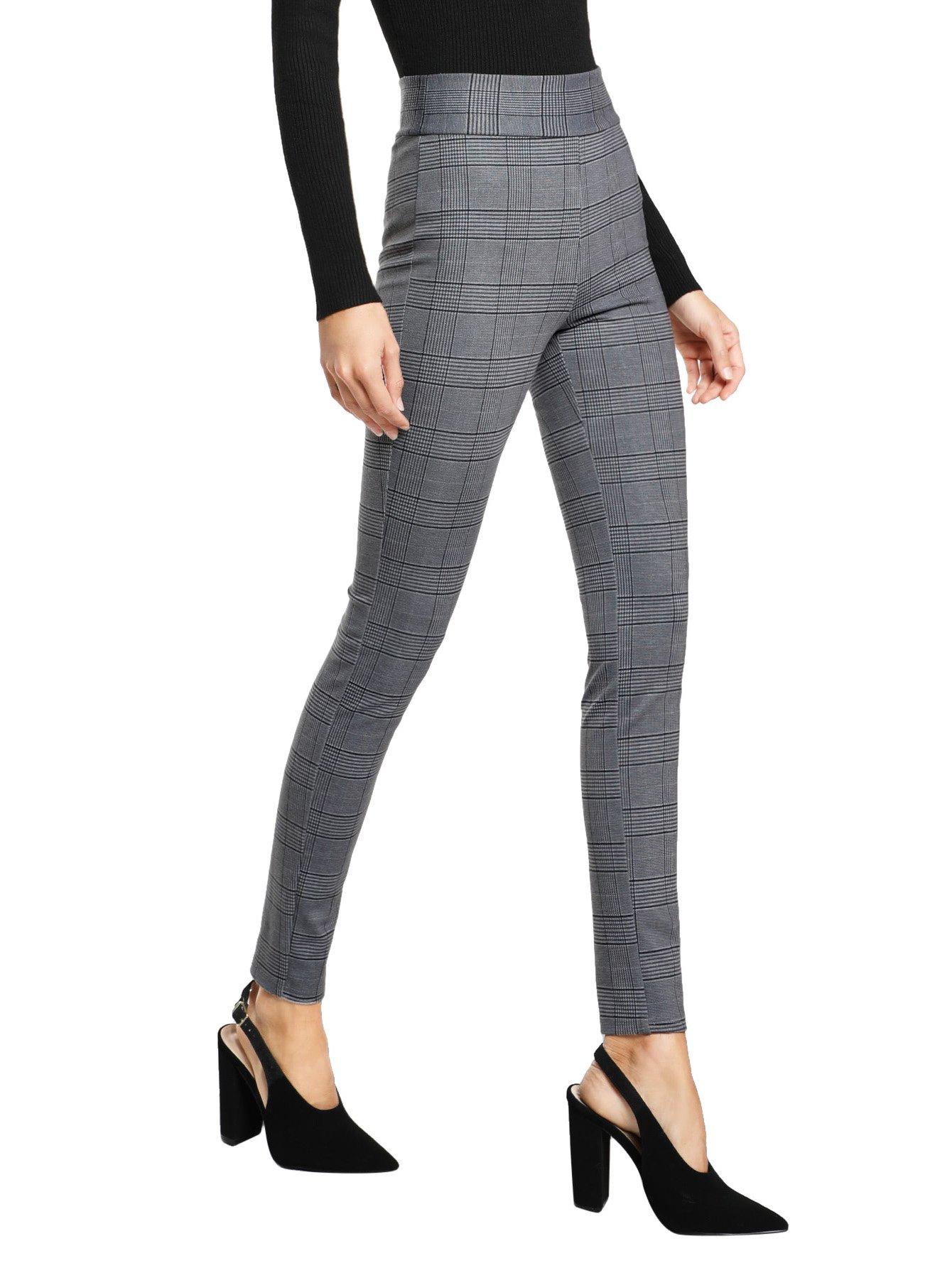 SweatyRocks Women's Casual High Waisted Ankle Plaid Pants Skinny Leggings, Grey #1, L by SweatyRocks (Image #3)