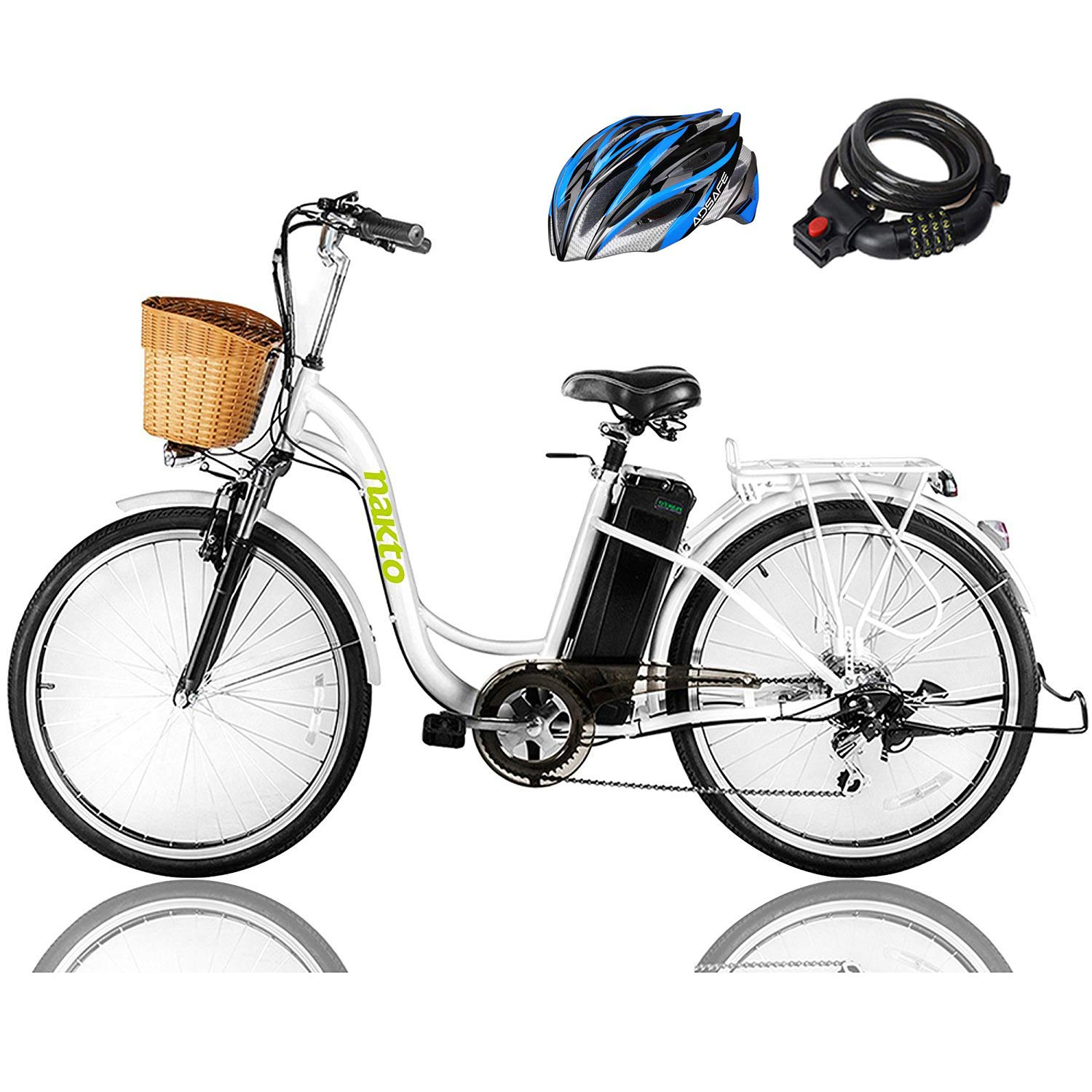 "NAKTO 26"" 250W Cargo Electric Bicycle Sporting Shimano 6 Speed Gear EBike Brushless Gear Motor"