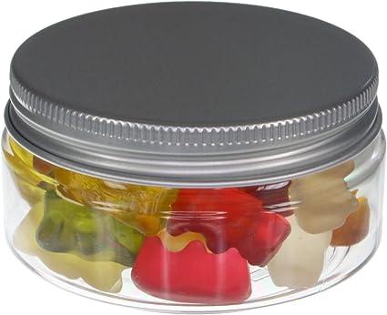 10 piezas Tarros de 100 ml de PET transparente con tapa de pl/ástico blanco plato