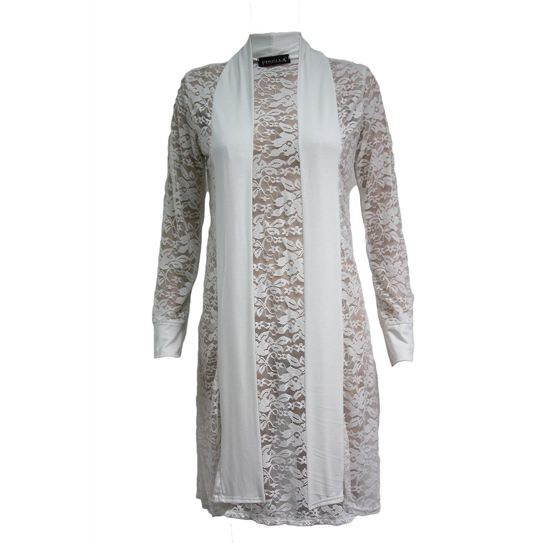 Ladies Cardi Long Length Lace Crochet Floral Open Boyfriend Maxi Cardigan