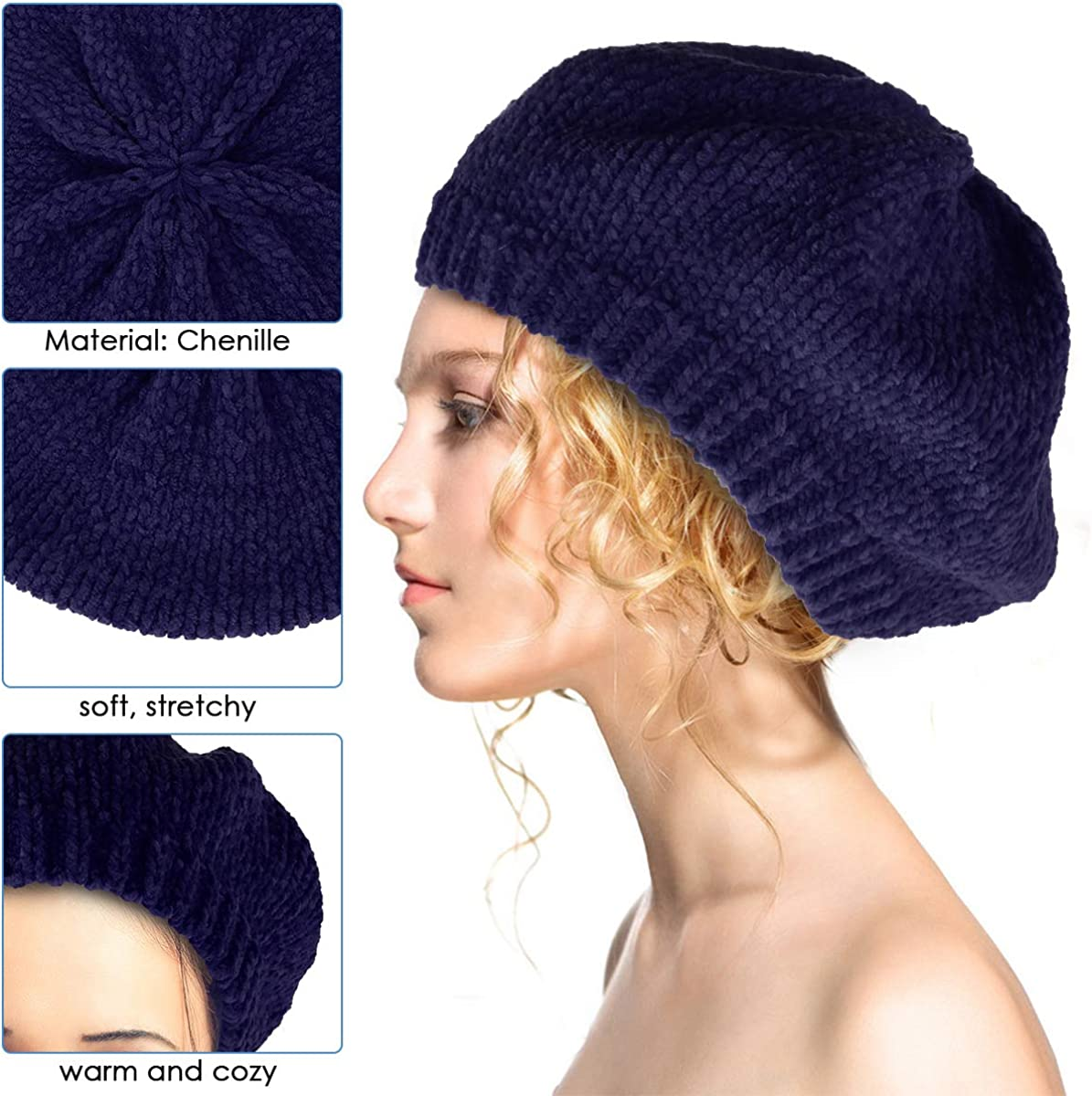 XingYue Direct Femmes B/éret la Mode Style fran/çais Automne Pur Couleur Hiver Chaud Chapeau fran/çais Bonnet Fille Bonnet Confortable
