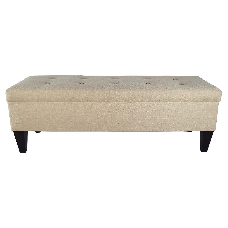 MJL Furniture Designs Brooke Collection Button Tufted Upholstered Long  Bedroom Storage Bench, HJM100 Series, Sea Mist