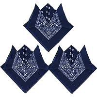 QUMAO 3pcs Bandanas Paisley Multicolore 100% Coton Bandana Cheveux Bandeau Bandannas Foulard Fichu Mouchoir Echarpe Cadeau Homme Femme Noël (55cm*55cm)
