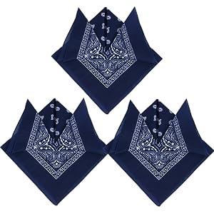 3pcs Bandana Foulard Original Paisley 100% Coton Multicolore Env.55cm*55cm