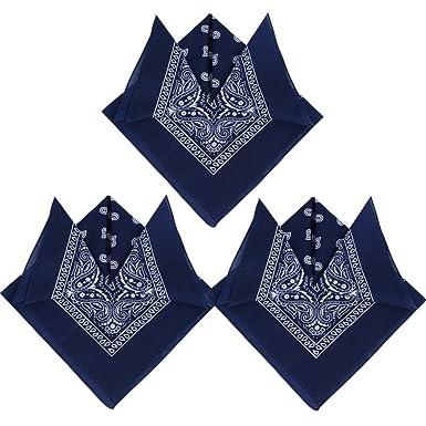 304e70eb6a07 QUMAO 3pcs Bandana Foulard Original Paisley 100% Coton Bleu Marine Env.55cm  55cm