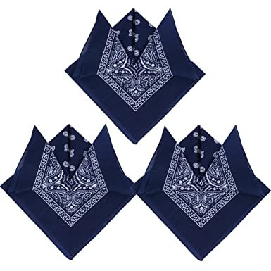 25a4ee7e7186 QUMAO 3pcs Bandana Foulard Original Paisley 100% Coton Bleu Marine  Env.55cm 55cm