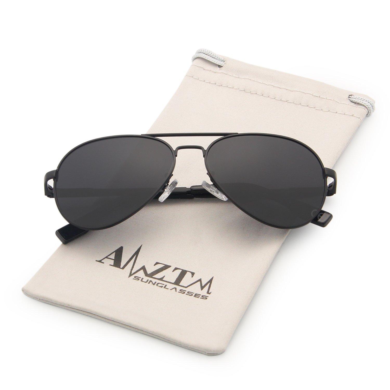 AMZTM Klassisch Polarisiert Pilotenbrille F/ür Kinder Metallrahmen Verspiegelt REVO Linse Sonnenbrillen Schwarz Grau, 52