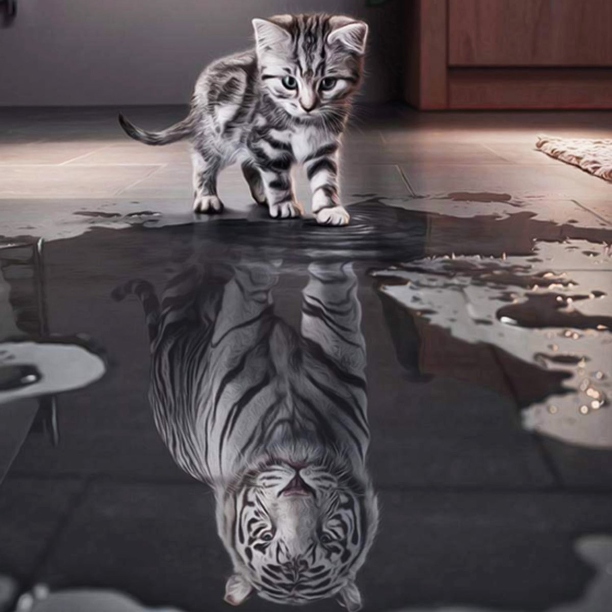 ZHENC 5D DIY Square Diamond Painting Drawing Crafts Cat Reflection White Tiger Animal Embroidery Needlework Full Drill Decor Cross Stitch Kits