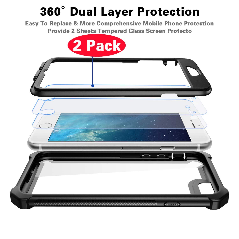 Garegce Coque iPhone 6 2 x Protecteur d/écran en Verre Tremp/é Coque iPhone 6s avec Antichoc Housse TPU+PC Transparent 360/° Anti-Chute Armure Double Protection for iPhone 6 // 6s-4.7- Or Rose