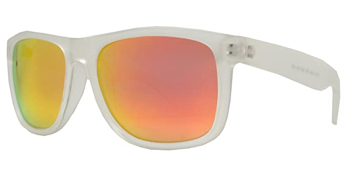 871faaabc PZ Polarized Classic Square Sunglasses (Matte Transparent + Fire Red Mirror)