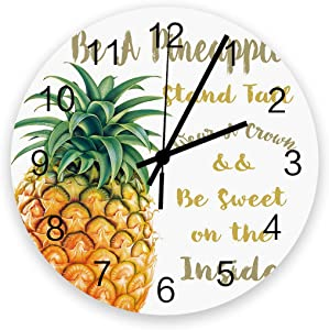 Edwiinsa No-Ticking 12 Inch Silent Wooden Round Wall Clock Pineapple and Quotes, Battery Operated Home Decor Kitchen Bathroom Clock Fresh Be a Fruit
