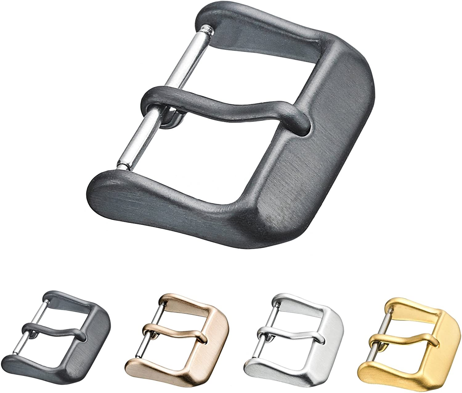 Alpine Replacement Steel Buckle for Watch Bands - Leather Watch Straps Clasp in 16mm, 18mm, 20mm, 22mm, 24mm, 26mm - Silver, Black, Rose Gold, Yellow Color