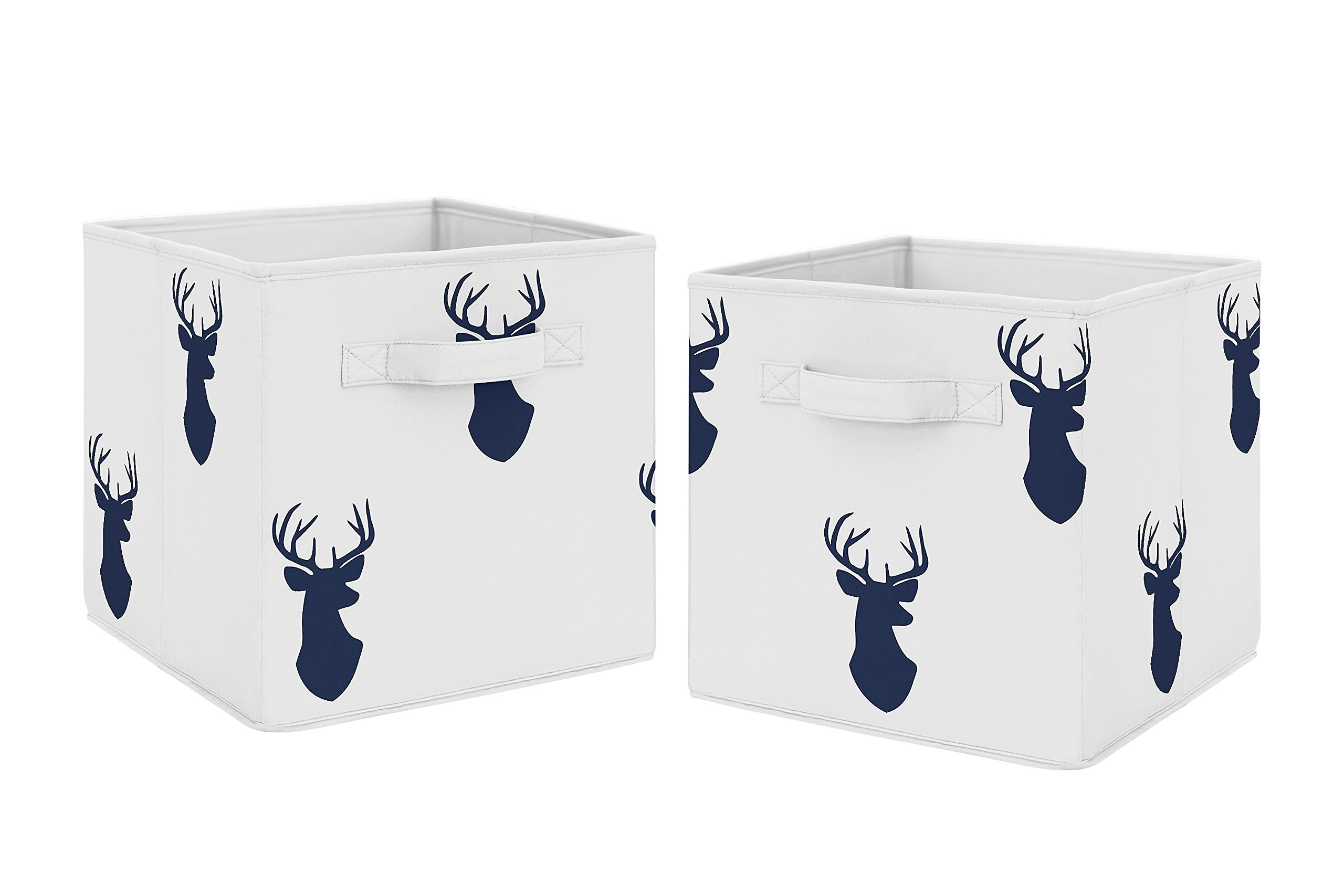 Navy Blue Deer Foldable Fabric Storage Cube Bins Boxes Organizer Toys Kids Baby Childrens for Woodland Deer Stag Collection by Sweet Jojo Designs - Set of 2