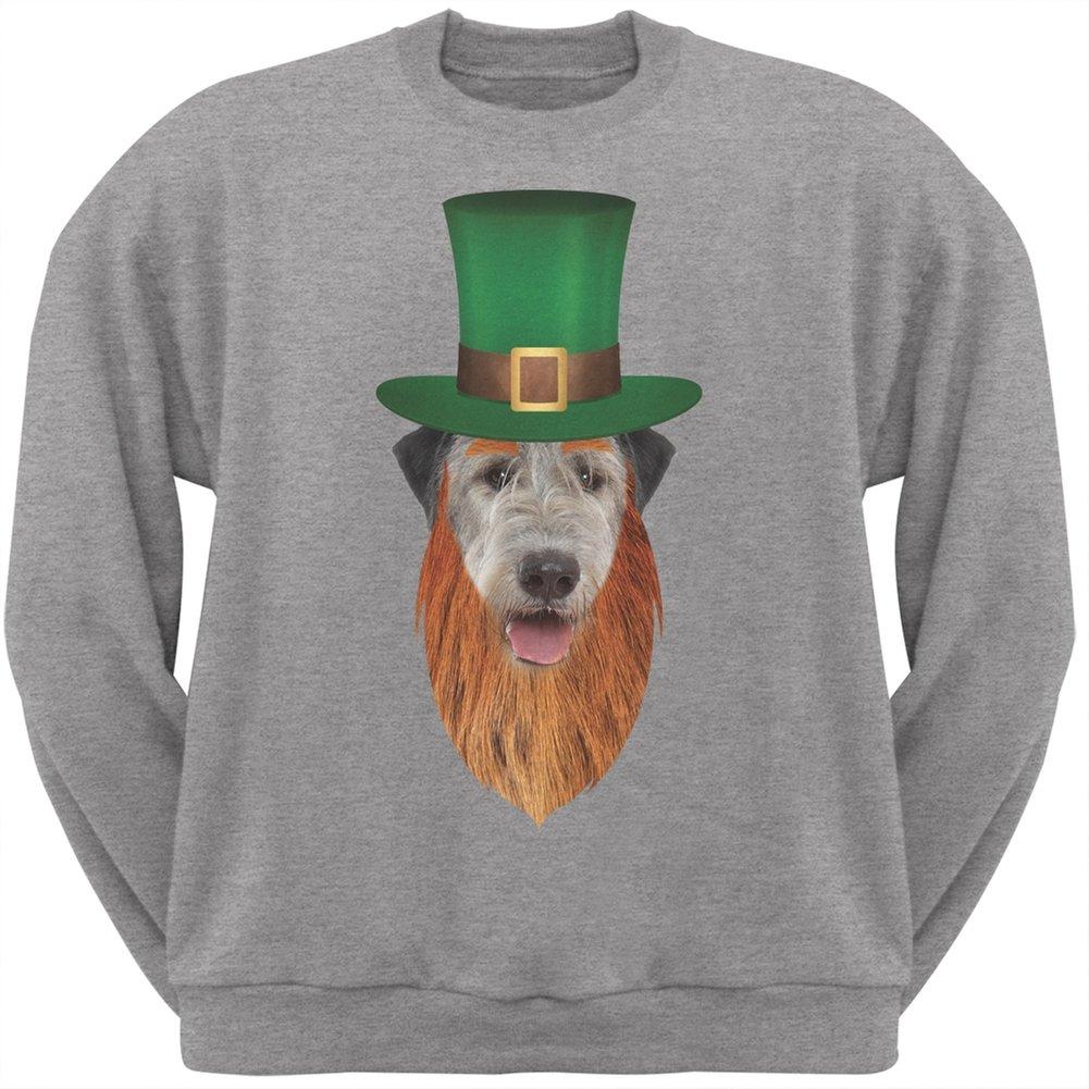 ST Patricks Day Irish Wolfhound Leprechaun Heather Grey Adult Sweatshirt