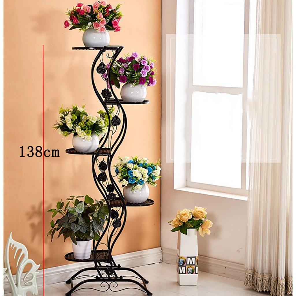 FZN Style européen simple balcon fer style étage fleur rack/multicouche intérieure et extérieure plante en métal présentoir Vertical Flower Rack (27 * 45 * 140cm) Pots de fleurs (Couleur : B)