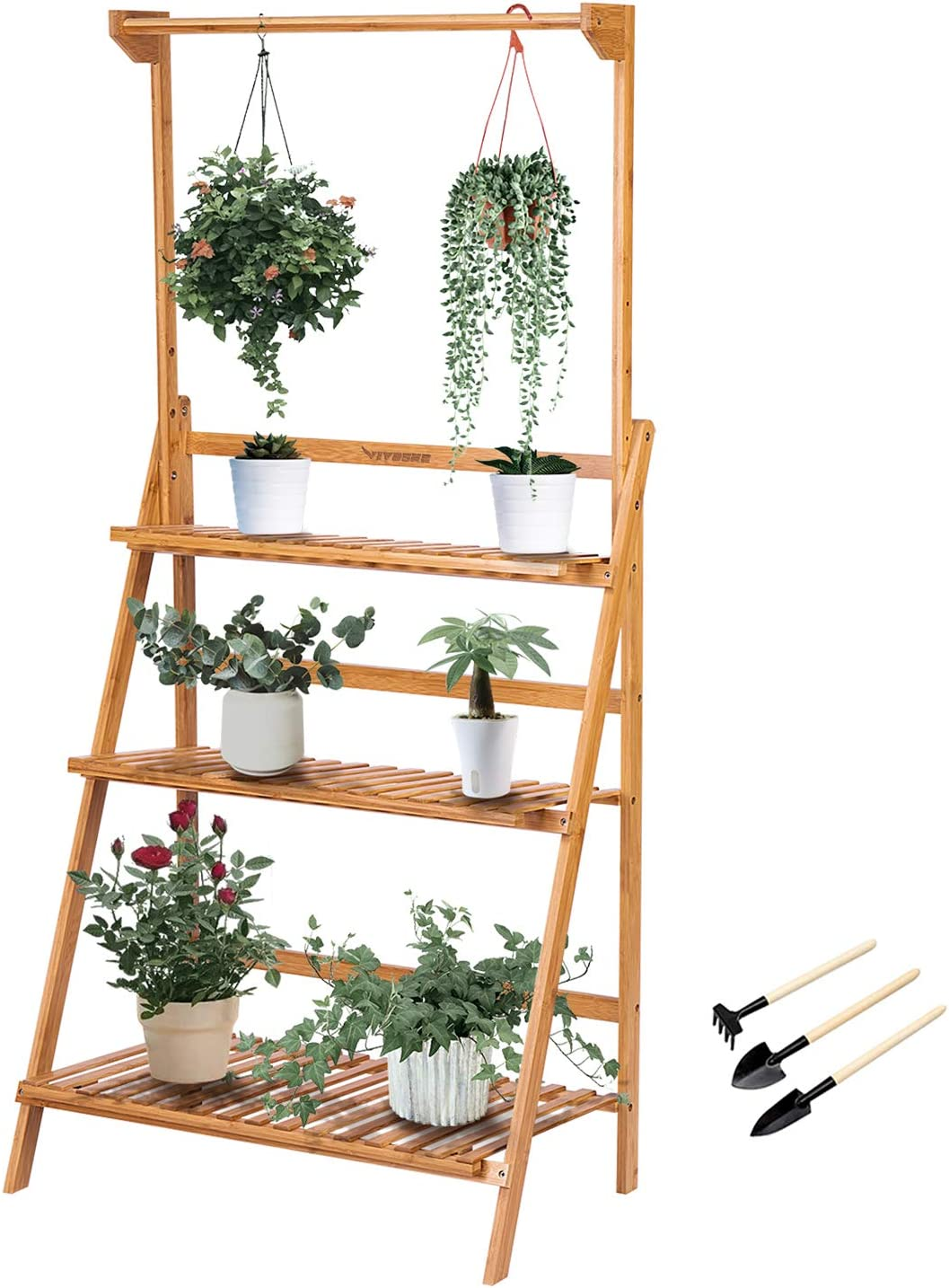 Vivosun 3 Tier Bamboo Hanging Plant Stand Foldable Planter Shelves Flower Pot Organizer Storage Rack Display Shelving Plants Shelf Holder For Patio Garden Balcony Indoor Outdoor Amazon Ca Patio Lawn Garden