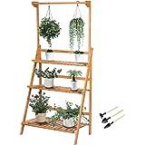 VIVOSUN 3 Tier Bamboo Hanging Plant Stand Foldable Planter Shelves Flower Pot Organizer Storage Rack Display Shelving Plants