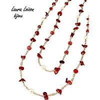 Laura Loison bijoux- Collana donna lunga con perle e pietre naturali
