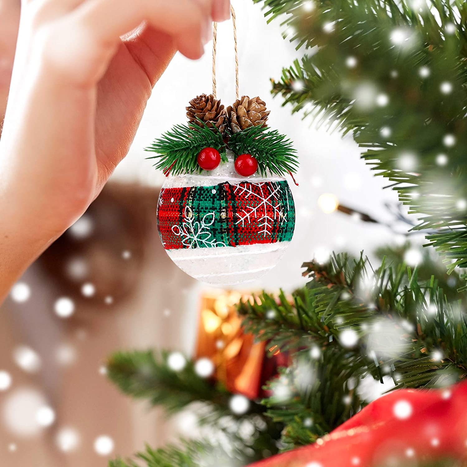 Assorted Styles URATOT 6 Pack Christmas Ball Ornaments Rustic Christmas Tree Hanging Baubles Decorations with Pine Cones and Berries for Christmas Holiday Decorations
