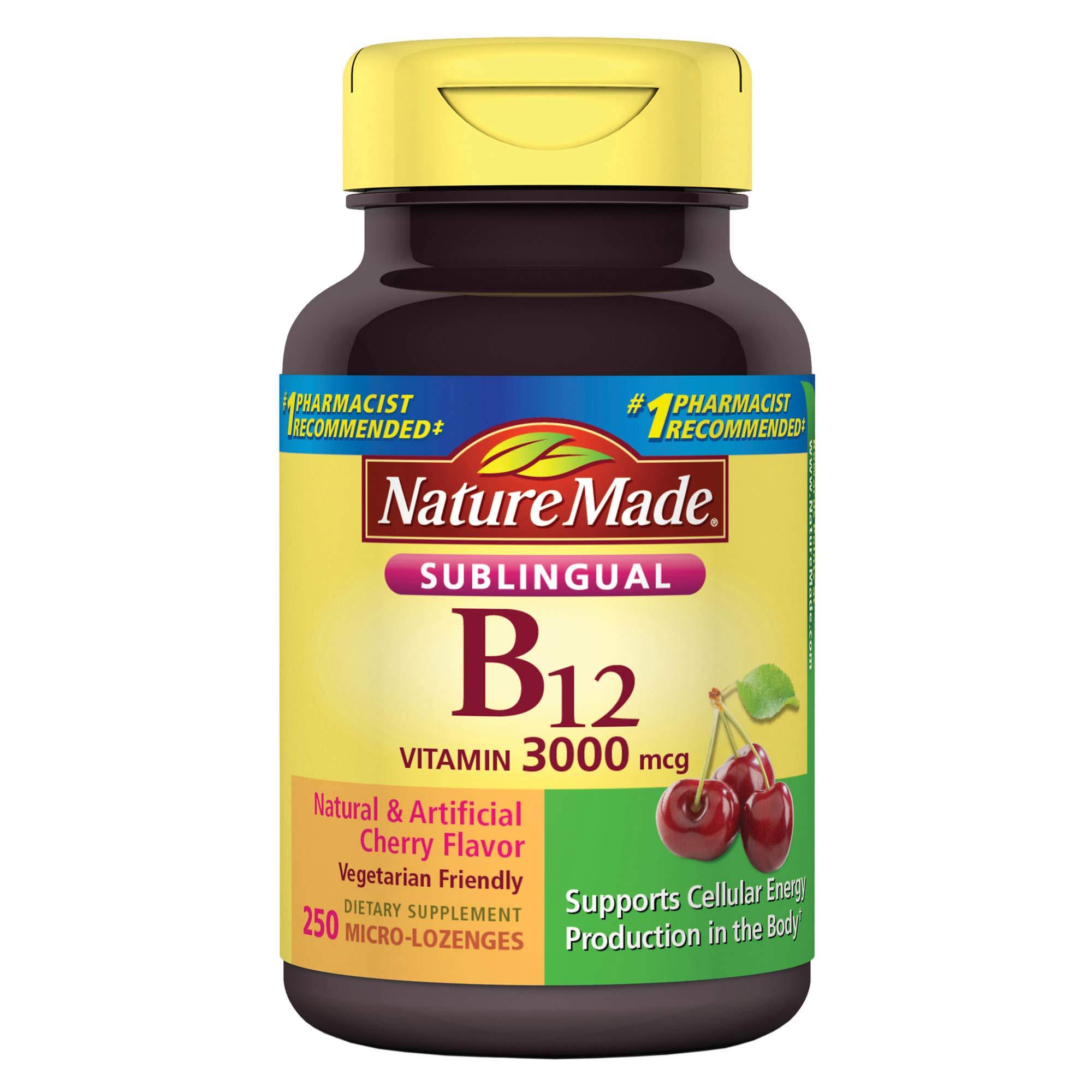 Nature Made Vitamin B-12 3000mcg, Sublingual Lozenges, Cherry (500ct)