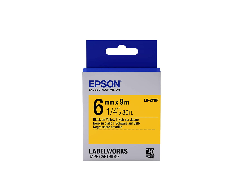 Epson Nastro fondo Pastello Giallo per testo Nero 6/9 LK-2YBP nastro per etichettatrice C53S652002