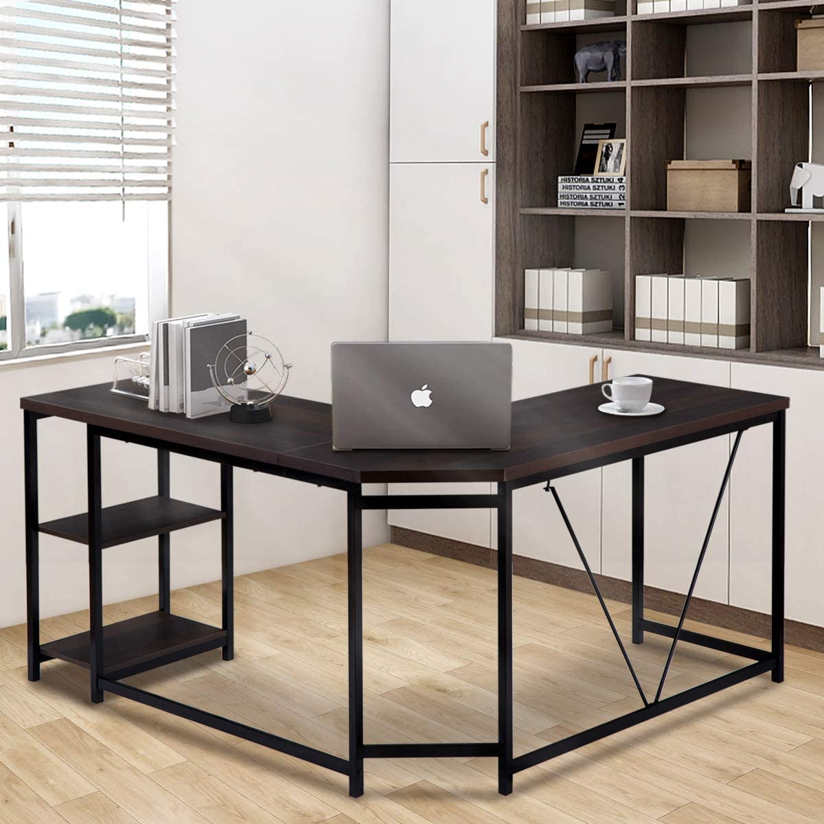 SSLine L-Shaped Computer Desk with 2-Tier Storage Shelves, 59-Inch Large Corner Computer Desk Wooden Study Writing Table Office Workstation with Metal Frame for Home Office Use A Type