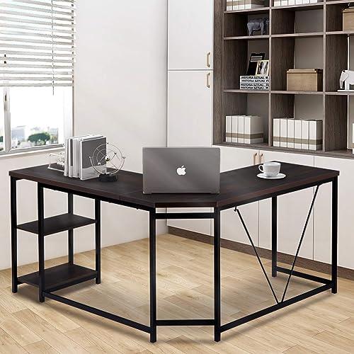 Merax L-Shaped Office Desk Workstation Computer Desk Corner Desk Home Office Wood Laptop Table Study Desk Rustic Espresso