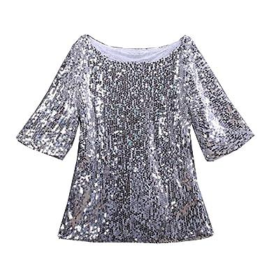 14fec3ed510 Tee Shirt Femme Haut Paillette Manches Courtes Clubwear Top Chic T Shirt  Haut Col Rond Argenté