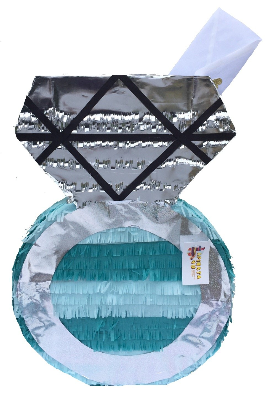 APINATA4U Teal & Silver Engagement/Wedding Diamond Ring Pinata / Card Holder