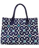 Geometric Anchor Print Canvas Large Tote Handbag (DARK NAVY BLUE)