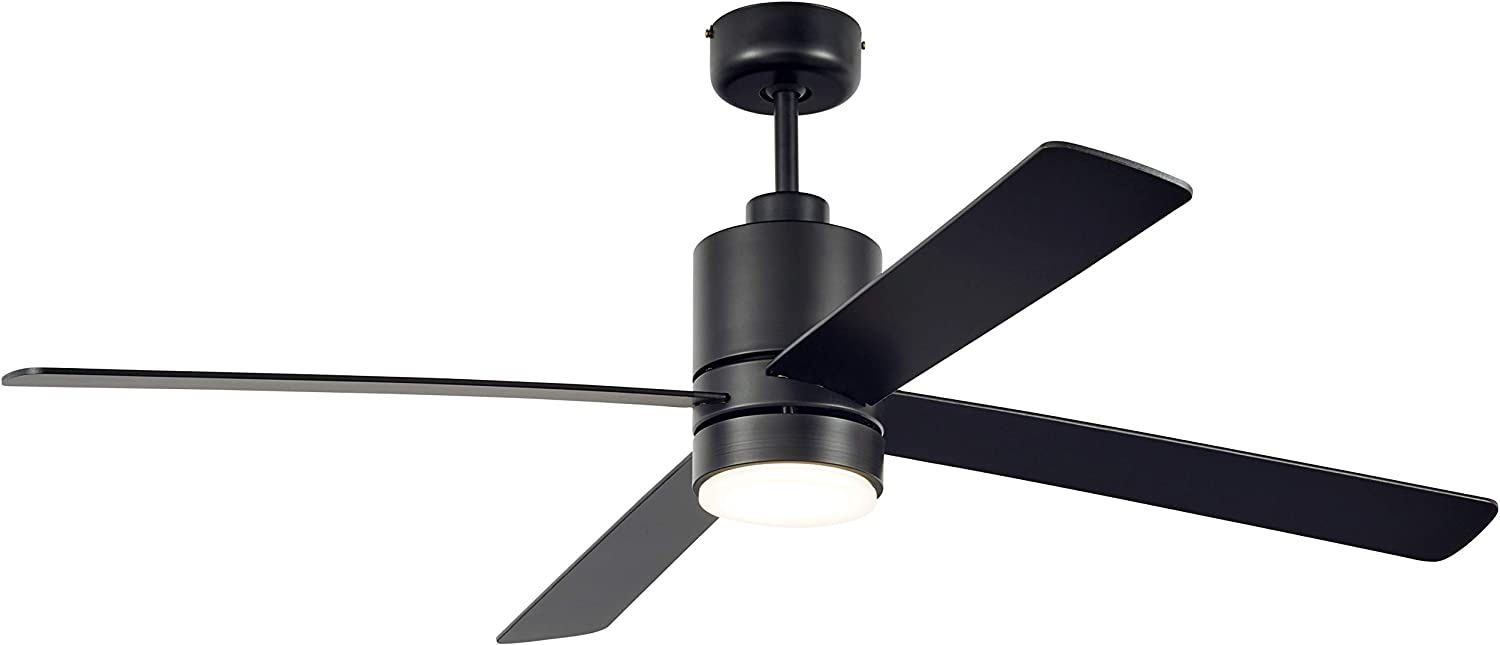 Amazon Brand Rivet Modern Cylindrical Base Remote Control Flush Mount Ceiling Fan With Integrated Led Light 52 X 52 X 14 Inches Matte Black
