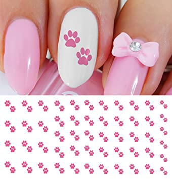 Amazon Hot Pink Paw Prints Water Slide Nail Art Decals Salon