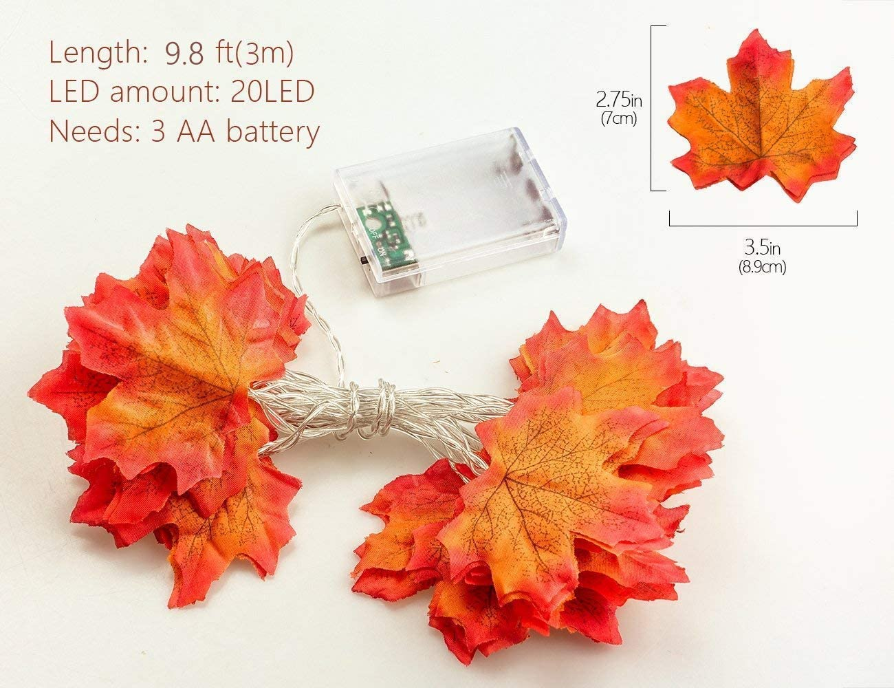 Gotop Fall Maple Leaf String Lights, 9.8 Feet 20 LEDs 3AA Battery Operated Fall Leaves Fairy Lighted Garland Light Up Fall Decor, Perfect for Christmas Thanksgiving Party Indoor Outdoor