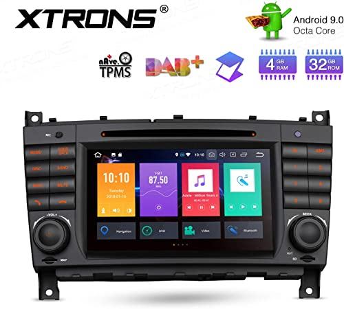 XTRONS Android 9.0 Car Stereo Radio DVD Player Double Din GPS Navigator Octa Core 4G RAM 32G ROM 7 Inch Digital Multi-Touch Screen Head Unit Supports WiFi OBD2 TPMS for Mercedes Benz W203 W209