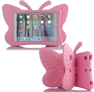 """Simicoo iPad Air3 iPad Pro 10.5 iPad 10.2 Cute Butterfly Case for Kids Stand Light Weight EVA Shockproof Rugged Heavy Duty Kids Friendly Case for iPad 10.5"""" Air (3rd Gen) iPAD 10.2 (Pink)"""