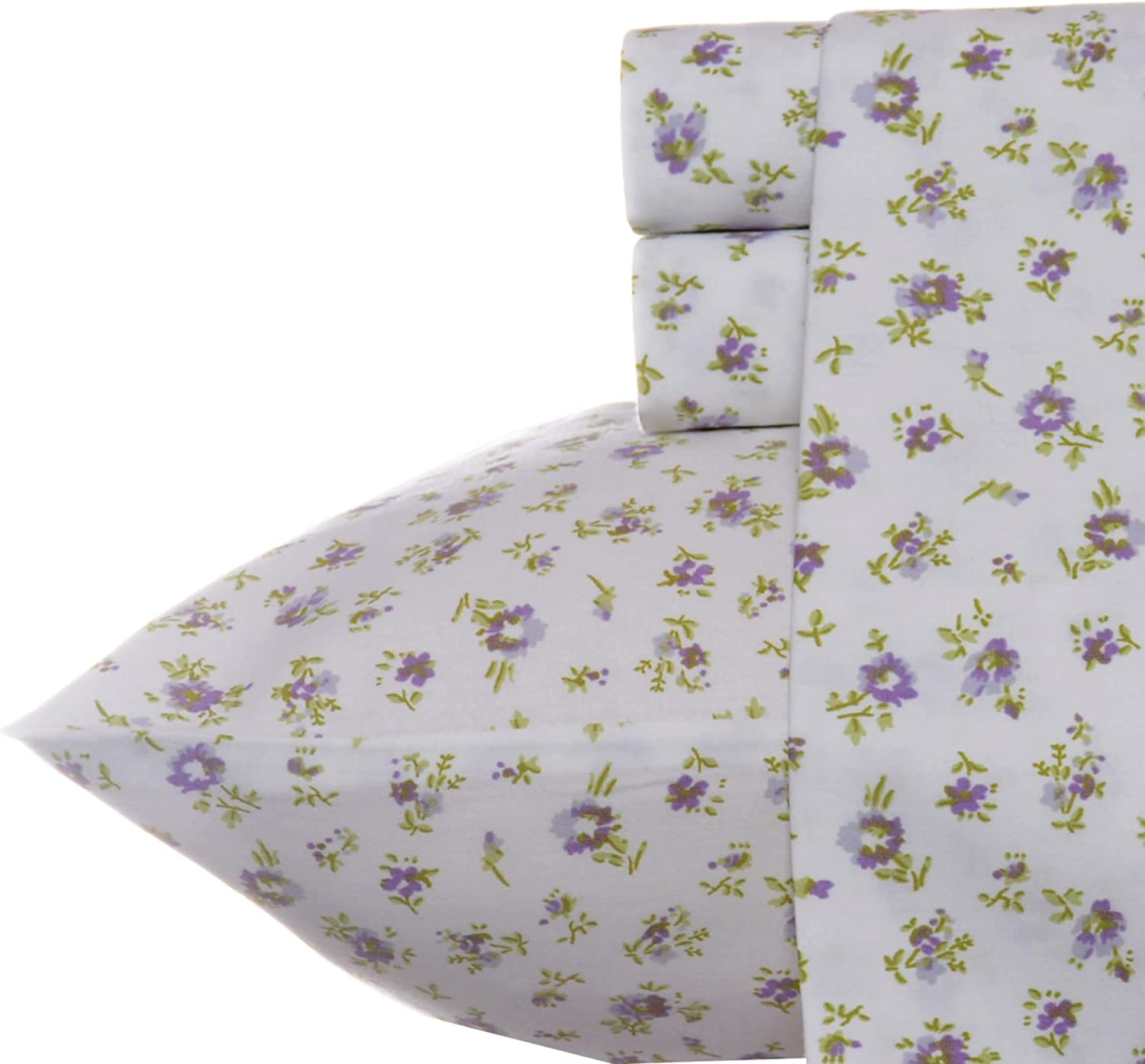 Laura Ashley Home - Sateen Collection - Sheet Set - 100% Cotton, Silky Smooth & Luminous Sheen, Wrinkle-Resistant Bedding, Queen, Petite Fleur
