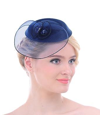 Fascinator Pour Femmes Filet En Maille Pince à Cheveux Fleurs Pillbox  Chapeau Pour Cocktail Mariage Derby 60e716eb7aa