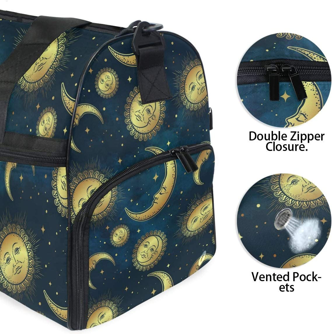 FANTAZIO Abstract Gold Sun And Moon Faces Sports Duffle Bag Gym Bag Travel Duffel with Adjustable Strap