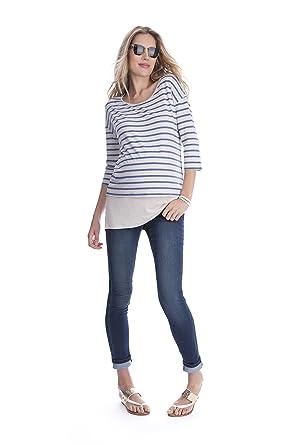 350dd0525ab Seraphine Women s Blue Stripe Double Layer Maternity   Nursing Top Size  Small