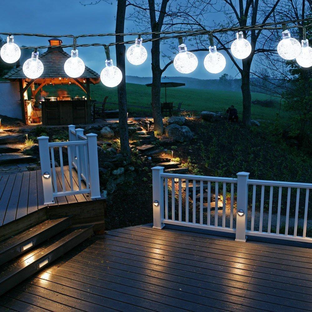Stringa luminosa a sfera impermeabile alimentata a energia solare - ELINKUME 6M/19,7ft 30 LED String Light Luci esterne per balcone/Patio/Cortile/Casa/Albero di Natale/Festa per feste (RGB) MUMENG