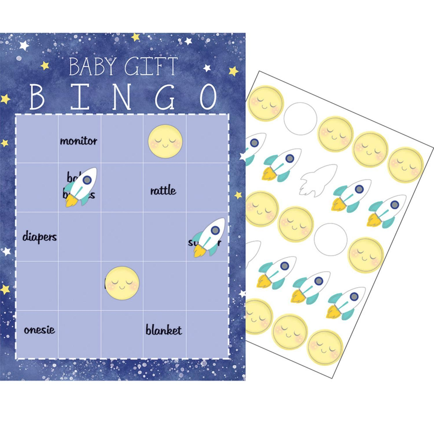 "Party Central Club Pack of 60 Blue and White Checkered Baby Gift Bingo Game 10"" by Party Central"
