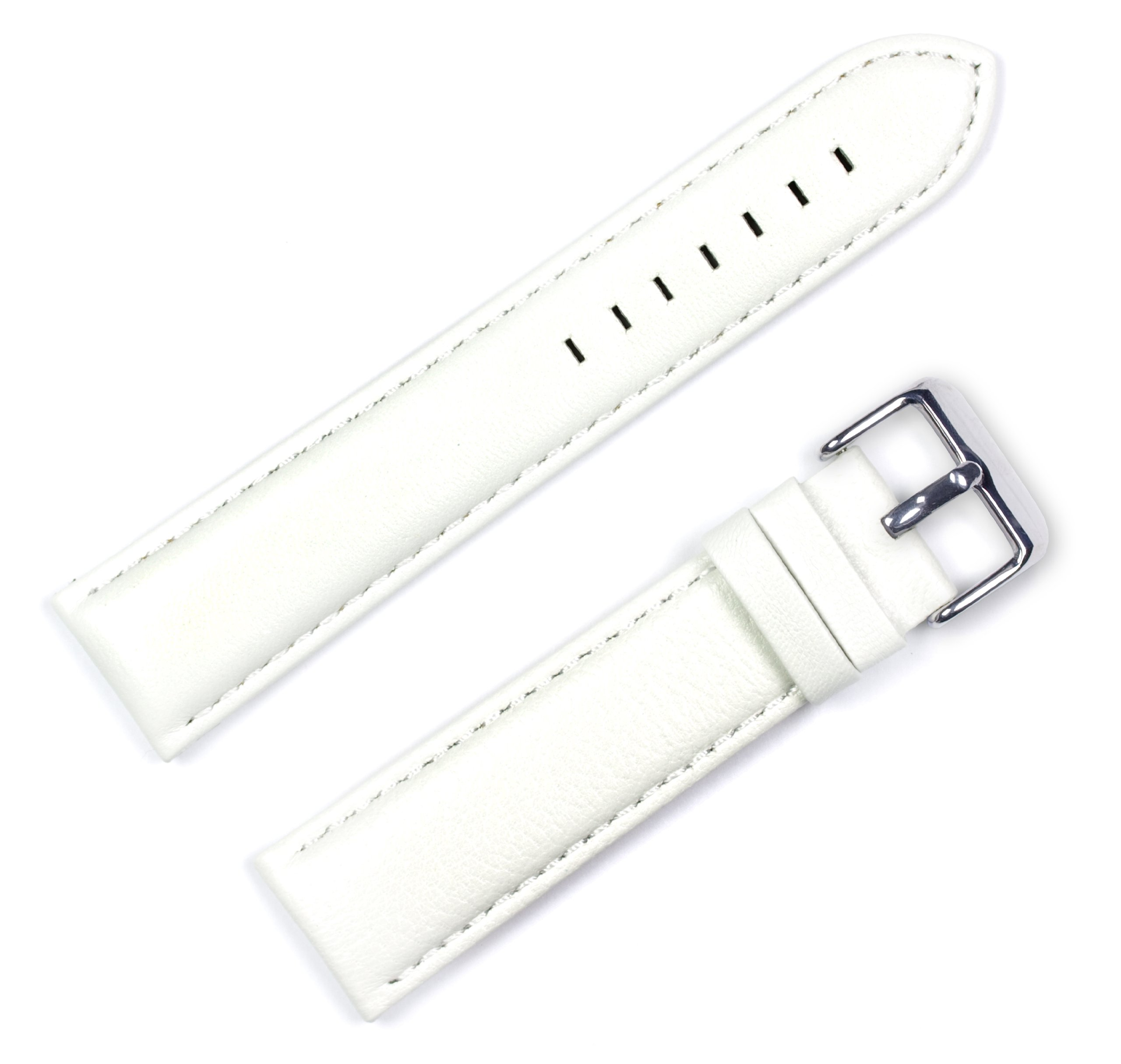 Panerai Style Glove Leather Watchband White 16mm Watch band - by deBeer