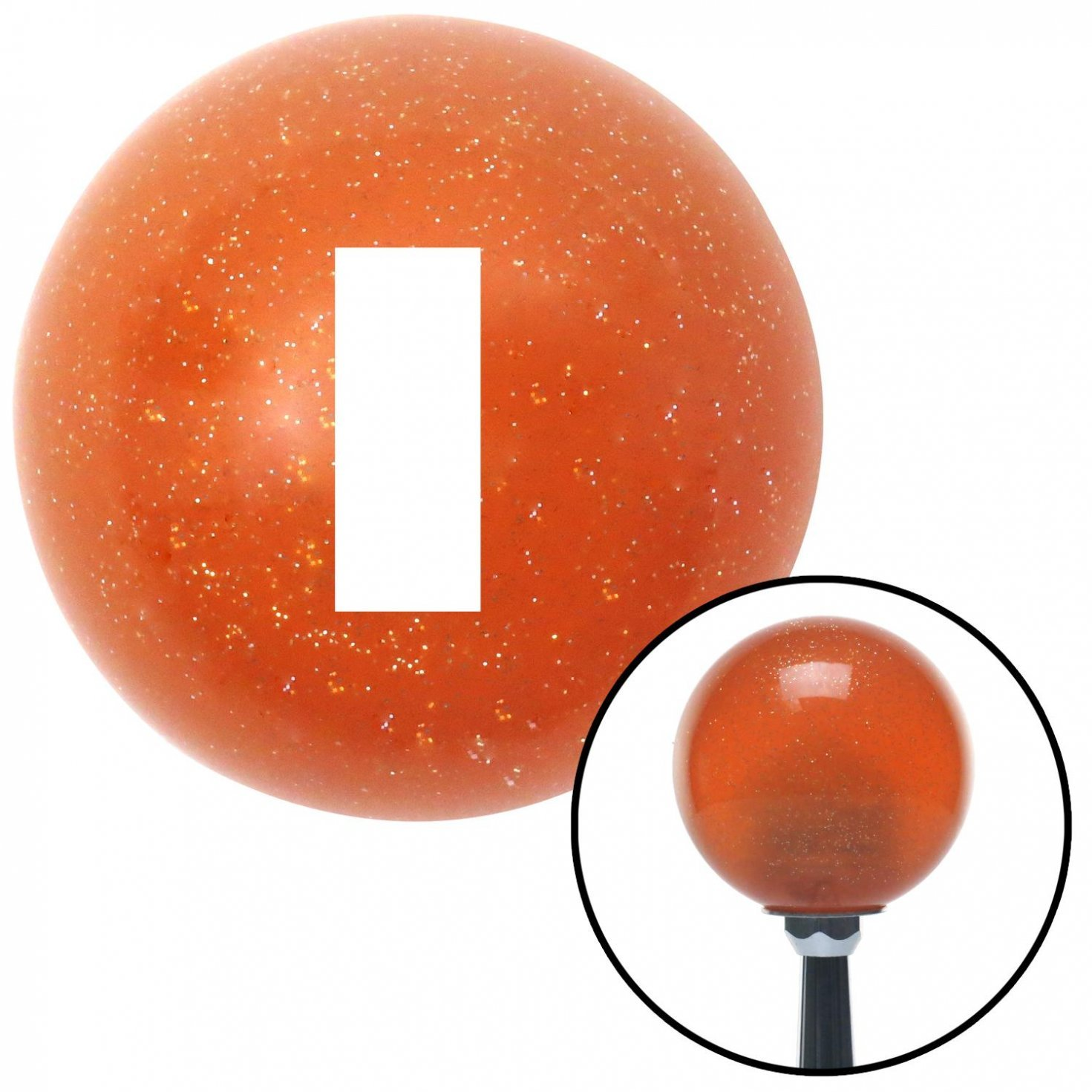 American Shifter 44658 Orange Metal Flake Shift Knob with 16mm x 1.5 Insert White Officer 01-2n Lt. and 1d Lt.