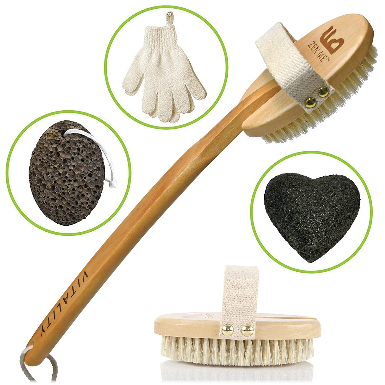 Premium Dry Brushing Body Brush for Lymphatic Drainage and Cellulite Treatment, Plastic-Free Natural Exfoliating Brush Set with Scrub Gloves, Konjac Sponge, Pumice Stone for Glowing More Youthful Skin ZEN ME 1
