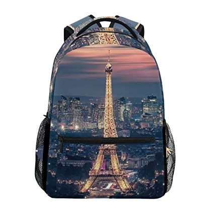 Eiffel Tower Paris City Night Mochila impermeable para la escuela, bolsa de hombro, mochila