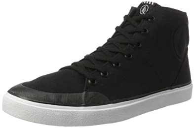 Volcom Mens FI HI TOP Vulcanized Shoe Skate Black