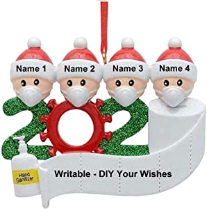 Gexmil Christmas Ornaments Xmas Tree Decoration 2020 Quarantine Survivor Gifts DIY Personalized Name Hanging Pendants for Party Holiday Home Car Decoration (Members of 4, 1PC)